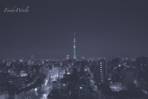 宵闇に浮かぶスカイツリー