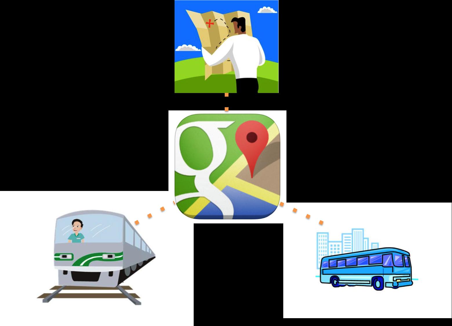 Google Mapsで電車やバスの乗り換え検索が出来ることを今、知りました