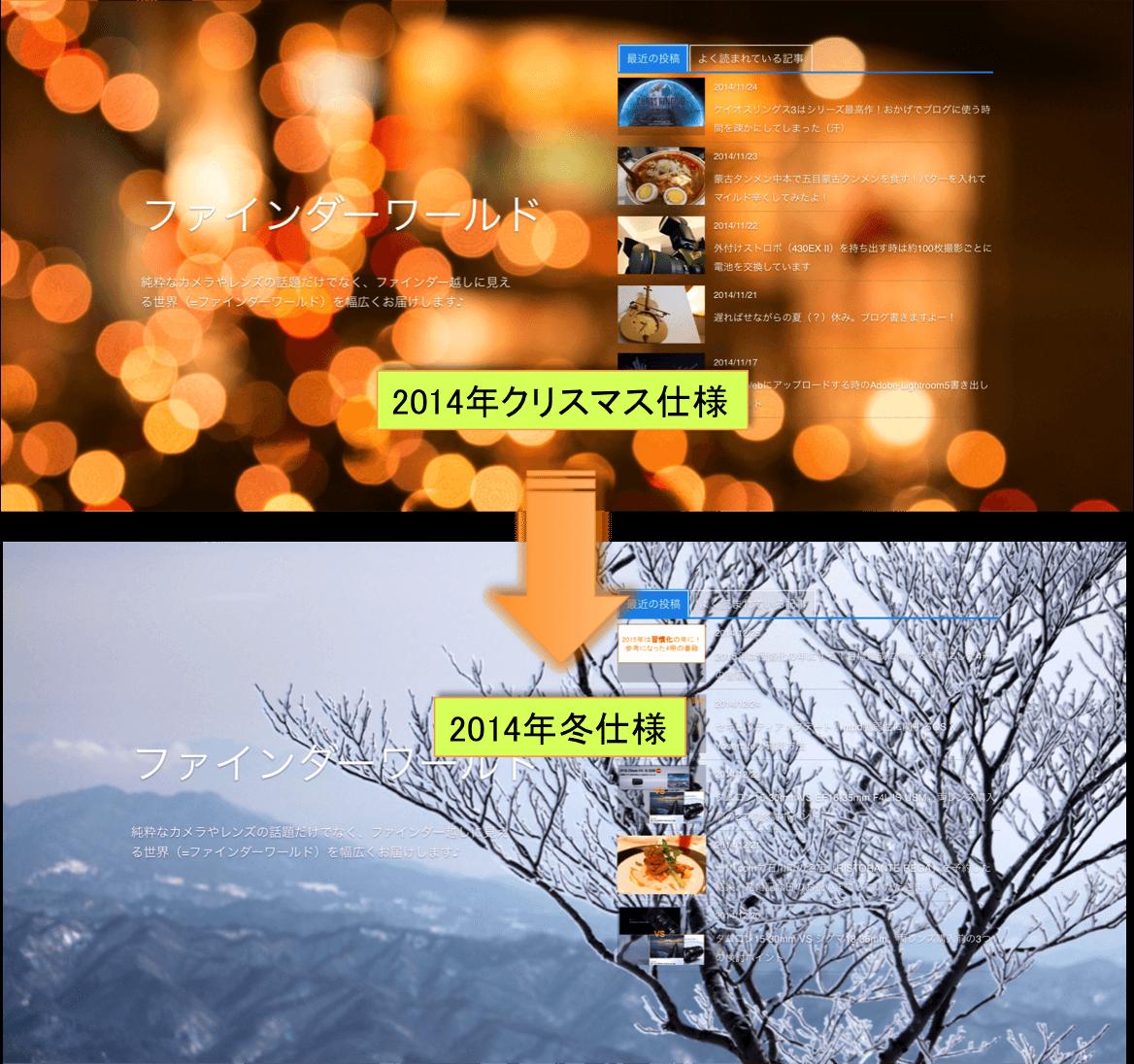 (2014クリスマス→2014冬仕様に衣替え♪)DigiPressの「GRAPHIE」でブログテーマの季節を演出