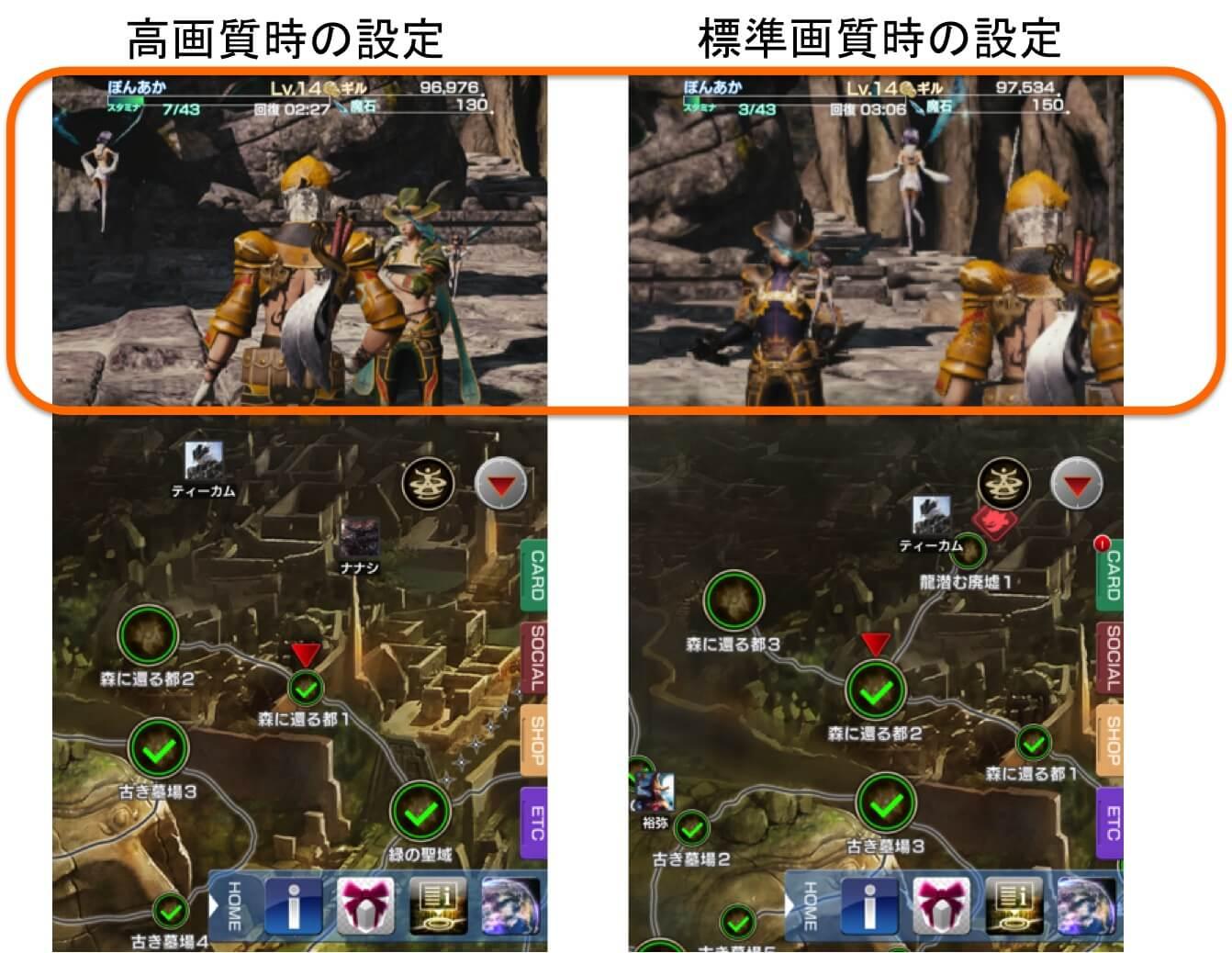 オレンジ枠で囲った箇所に明らかな画質(解像度)の差異が出ている